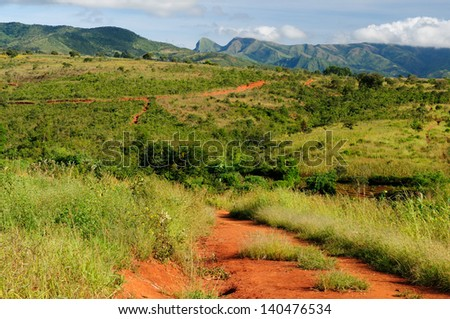 Typical african landscape - Livingstone mountains - stock photo