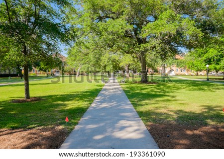 Typical American college campus. - stock photo