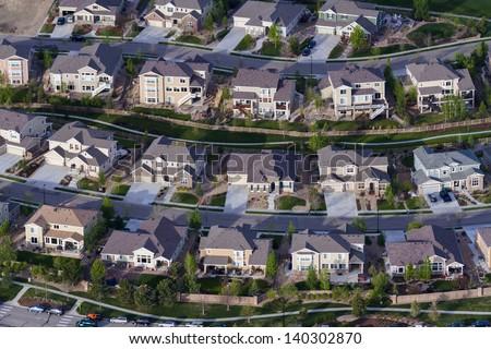 Typical american suburban development. - stock photo