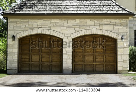 Typical american two car wooden oak garage - stock photo