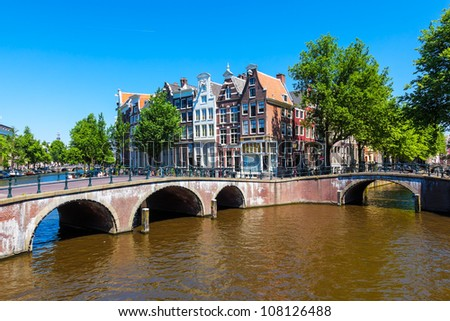 Typical Amsterdam scene with canals, bridges and bicycles - stock photo