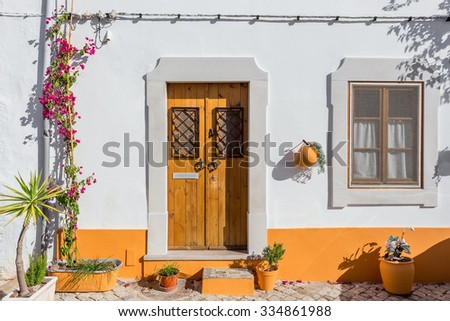 Typical ancient Portuguese house facade. - stock photo