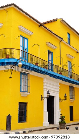 Typical and colorful colonial house in Old Havana isolated on white - stock photo
