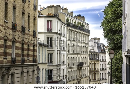 Typical apartment buildings in Paris ,France - stock photo