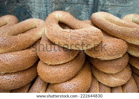 typical arab bread bagels with sesam - stock photo