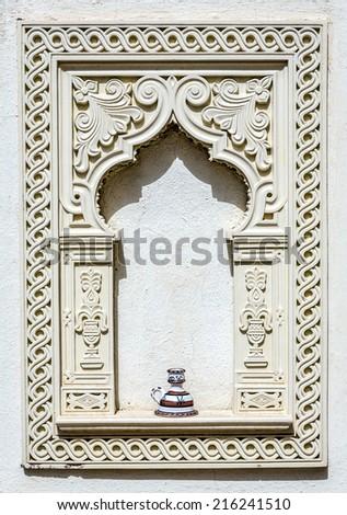 typical arabic ornamental decor with candleholder vase. Tunisia - stock photo