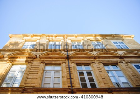 Typical architecture detail of a painted house in the Provence region, France, city of Aix-en-Provence - stock photo