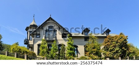Typical architecture of a house in Puerto Varas, llanquihue Lake, Patagonia, Chile - stock photo