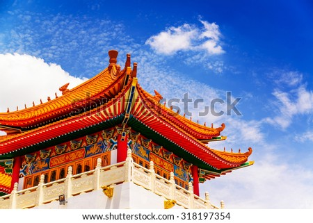 Typical Asian Chinese Temple Roof Architecture