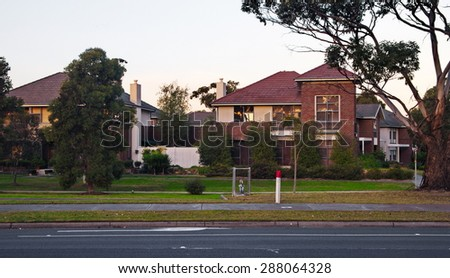 Typical Australian residential house in the evening - stock photo