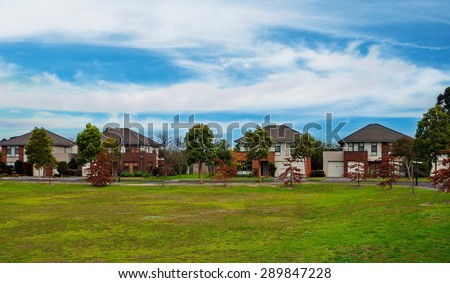 Typical Australian residential houses - stock photo