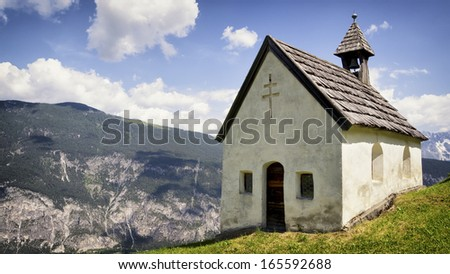 typical austrian chapel at the european alps - karwendel