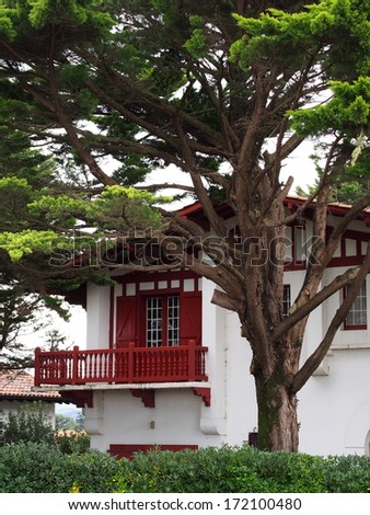 Typical Basque house and garden - stock photo