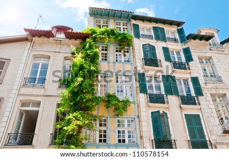 Typical Basque houses in Bayonne, France - stock photo