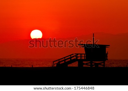 Typical baywatch cabin on the pacific cost. - stock photo