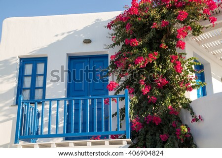 Typical blue door at the Greek islands - stock photo