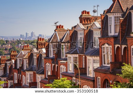 Typical British brick houses on a sunny afternoon panoramic shot from Muswell Hill, London, UK - stock photo