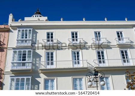 Typical building in Plaza San Antonio, Cadiz, Andalucia, Spain - stock photo