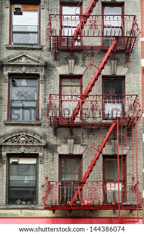 Typical building stairs in New York neighborhoods, USA - stock photo
