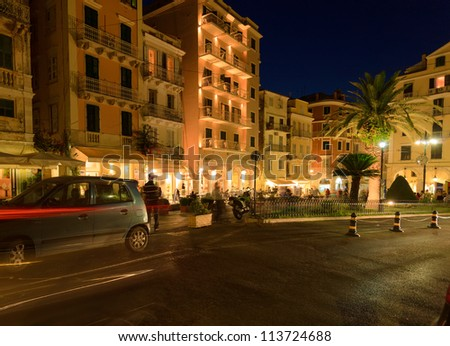 Typical buildings at night, Corfu city, Greece - stock photo