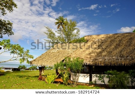typical buildings at tropical island of Moorea, french polynesia