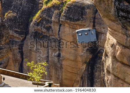 Typical cable car in Varlaam monastery in Greece - stock photo