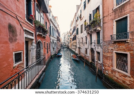 Typical canal of Venice, Italy.  - stock photo