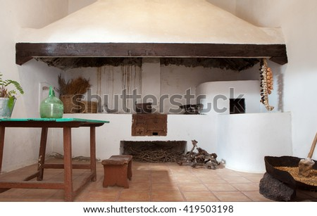 Typical canarian old kitchen - stock photo