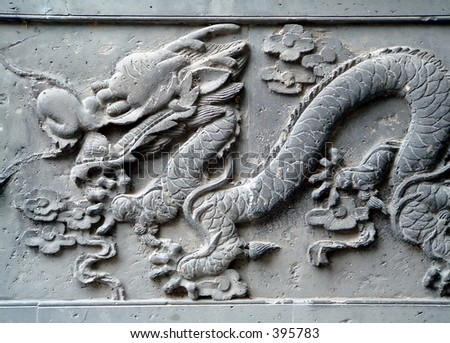 Typical Chinese carven dragon on wall expressing power and status in ancient China - stock photo