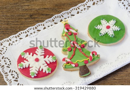 typical Christmas cookies arranged on a tray - stock photo