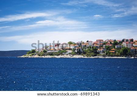 typical coastline of town trogir in croatia - stock photo