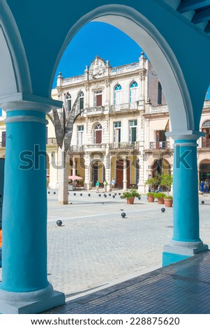 Typical colonial architecture at Plaza Vieja in Havana, a tourist landmark - stock photo