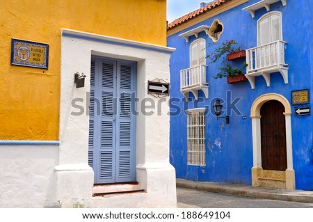 Typical Colonial houses, San Diego Square in the Old City of Cartagena, Colombia  - stock photo