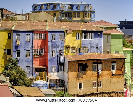Typical color houses and buildings of Valparaiso,Chile - stock photo