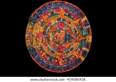 Typical Colored Clay Maya Calendar Isolated on Blackbackground