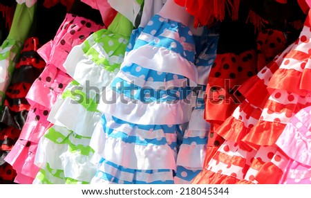 Typical colored Spanish flamenco dress, Andalusia, Spain   - stock photo