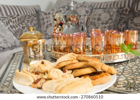 Typical cookies as presented by Moroccan women during ramadan period - stock photo