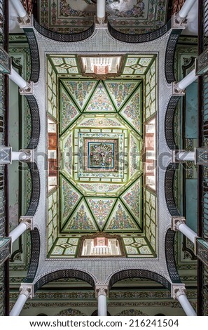 typical decoration of the ceilings of tunisia, arab ornaments  - stock photo