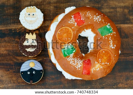 Typical dessert eaten in Spain to celebrate Epiphany with three cookies of the Three Wise Men