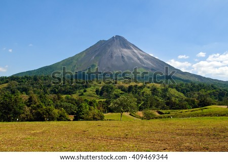 Typical dormant volcano: Arenal volcano (Costa Rica, La Fortuna). - stock photo