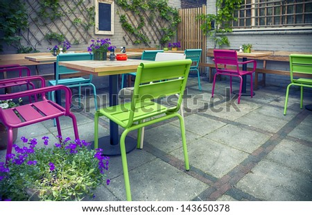 typical dutch city cafe on street - stock photo