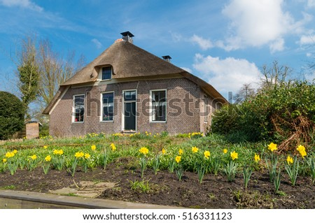 typical dutch country house in Giethoorn, the Netherlands