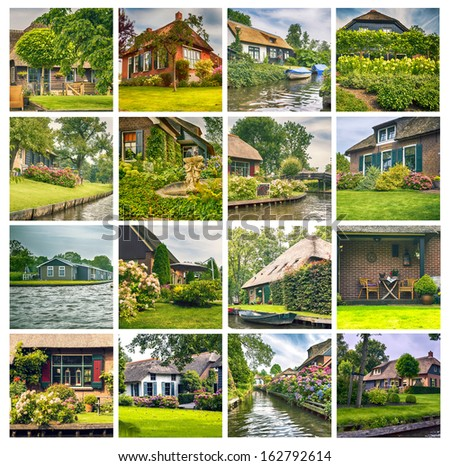typical dutch  county side houses and gardens - stock photo