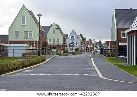 Typical dutch houses in a village in the countryside in the Netherlands
