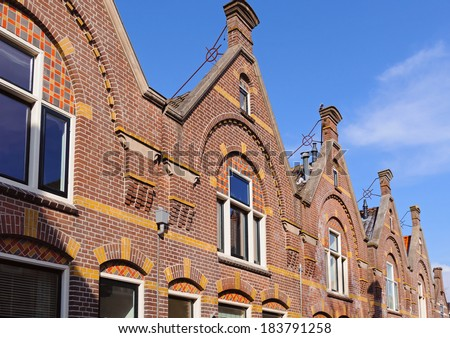 Typical Dutch houses in Enkhuizen, The Netherlands - stock photo