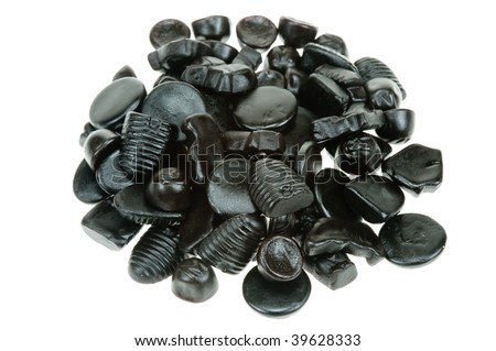 typical dutch liquorice candy isolated on a white background