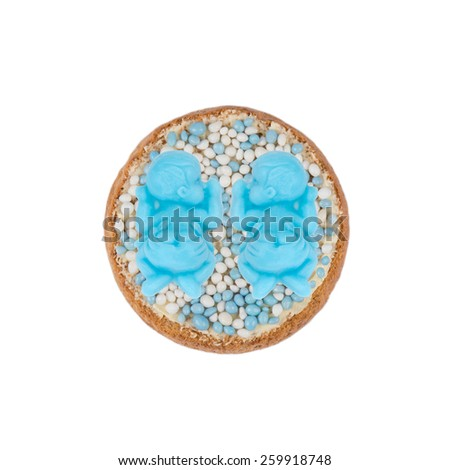 Typical Dutch mouse rusk with blue mice, for baby boys shower of twins - stock photo