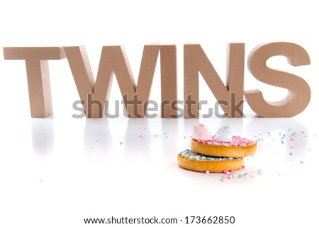 Typical Dutch mouse rusk with mice, for baby shower of twins - stock photo