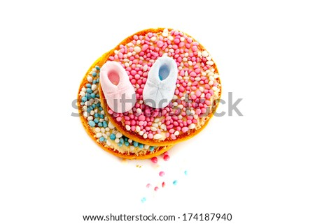 Typical Dutch mouse rusk with pink mice, for baby girl and boy shower - stock photo