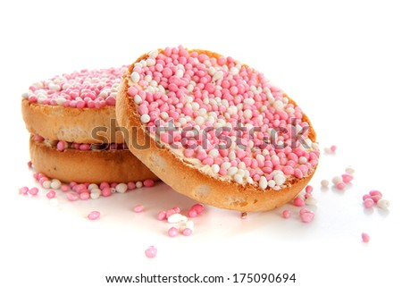 Typical Dutch rusk with pink sprinkles